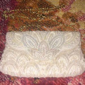 La Regale white beaded crossbody bag w iridescent